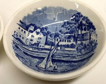 Set of 2 Thames River Scenes by Palissy Pottery, England, Tiny Blue Transferware Tray, Dish, or Plate with Sailboat Scene