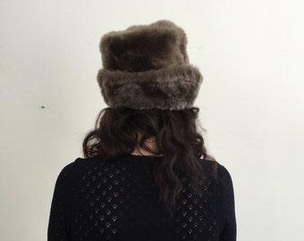 Vintage Faux Fur 60's Hat - Audrey Hepburn Hat - Grey - ACC-07