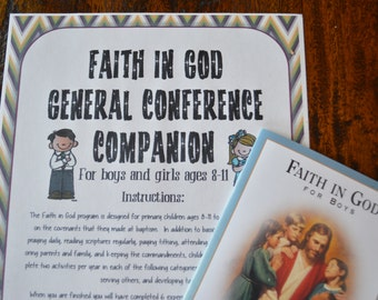 Faith in God LDS General Conference Activities Packet for Children ages 8-11