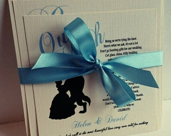Beauty and the Beast wedding invite, including main invite, rsvp, wish list, ribbon and envelope