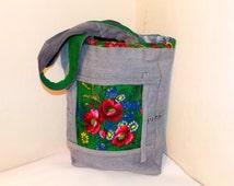 Jeans bag. Denim handbag. Handmade Bag. Comfortable Shoulder bag. Patchwork denim bag. Handmade denim bag Big denim Handbag. Ukrainian style