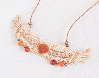 Wing pendant with carnelian