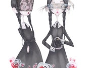 fashion illustration halloween Wednesday Addams valentino art print