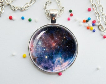 DISCONTINUED! Space Galaxy Pendant Necklace Charm Handmade