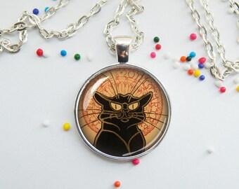 PENDANT, chat noir, black cat, Theophile Steinen, art pendant, necklace