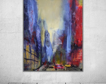 New York | 60x50cm | inkl. Schattenfuge | Orignal-Gemälde | Collage, mixed-media | blau rot painting city skyscraper Hochhäuser Stadt Kunst