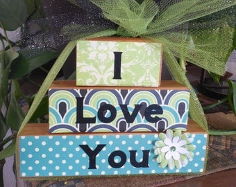 "Homemade wood block sign ""I Love You"": mom sweatheart, gift from the heart, Mother's Day, Anniversary, Valentine's Day"