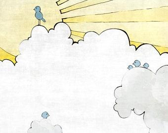 Sunshine Nursery Art Print, Blue Yellow Nursery, Baby Shower Gift, Baby Birds Nursery Decor, Kids Room Illustration, Fluffy Clouds Print