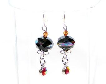 Rhinestone Earrings - Beaded Earrings - Elegant Beaded Earrings - Black Beaded Dangle Earrings