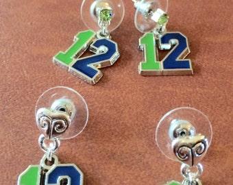 Seattle Seahawk earrings/Seahawk jewelry/Seahawk 12 charms/crystal post earrings/Seahawk post earrings
