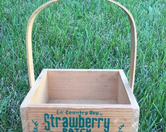 Vintage Lil' Country Boy Strawberry Patch Small Wood Basket with Handle