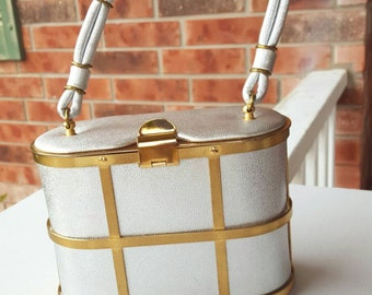 Etra Cage Box Purse Silver with Gold Cage 1950's