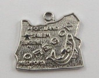 Map of Oregon State-Beaver State Sterling Silver Vintage Charm For Bracelet
