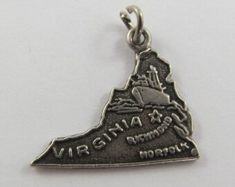 Map of Virginia State Sterling Silver Vintage Charm For Bracelet