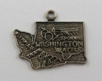 Map of Washington State Sterling Silver Vintage Charm For Bracelet