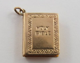 Holy Bible 9K Gold Vintage Charm For Bracelet