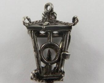 Candle Lantern Mechanical Sterling Silver Vintage Charm For Bracelet