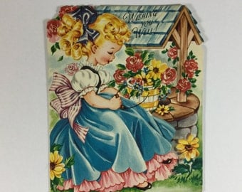 Wishing Well Banana Curl Little Girl Vintage 1950s Fairfield Best Wishes Greeting Card