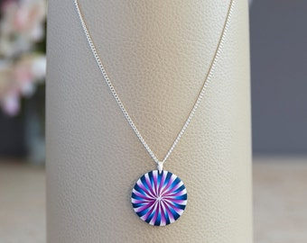 Blue and magenta swirl pendant necklace