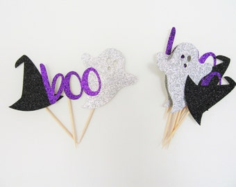 Halloween Cupcake Toppers, Ghost Cupcake Topper, Witch Cupcake Toppers, Boo Cupcake Toppers, Halloween Food Picks, Halloween Party Decor