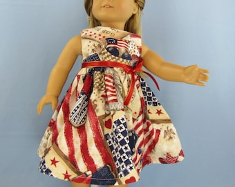 American Girl Doll Dress, Independence Day July 4th  Patriotic  Dress Jumper