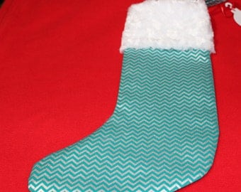 Teal & Silver Shimmery Chevron Christmas Stocking