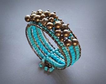 Boho Bracelet, Gypsy Bracelet, Brass Bracelet, Turquoise Bracelet, Hippie Bracelet, Seed bead Bracelet, Beach Bracelet, Gift for her, Unique