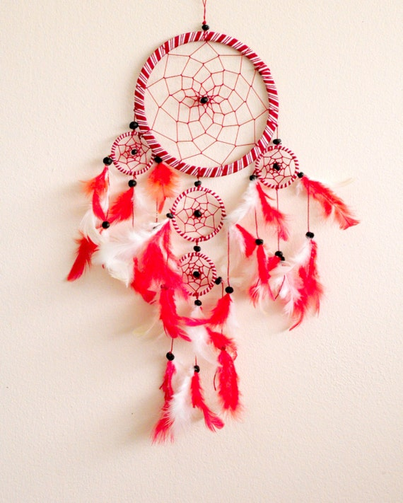 Dream Catcher candy color red & White 5 Circles Home - photo#32