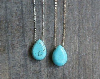 Turquoise Teardrop Necklace / Turquoise Howlite on Sterling Silver or Gold Filled Chain / December Birthstone / Boho Style Layering Jewelry