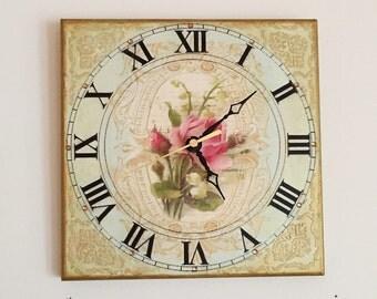 Wall Clock Vintage Rose