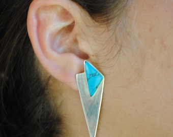 Native american turquosie earrings - vintage earrings - geometric earrings - sterling silver earrings