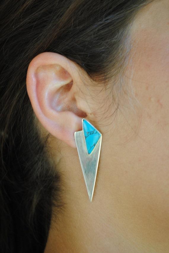 Boucles d'oreilles vintage géométriques en turquoise en argent