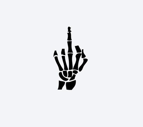 Skeleton Middle Finger Vinyl Window Decal by DeerRunCreations