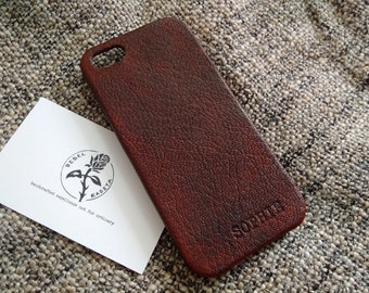 iPhone SE 5 5s leather case 'DarkBrown'