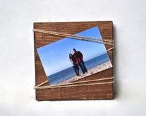 Rustic Wood Photo Holder, 3x4 Frame, Rustic Picture Frame Wood 4 x 6, Recipe Holder, Wood Photo Display Block, Rustic Stocking Stuffer Gifts