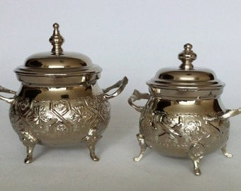 Moroccan / Elegant / Chic Alpaca Silver Nibble/Sugar Bowl