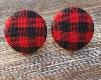 Buffalo Plaid Earrings. Red and Black Plaid Fabric Earrings. Plaid Earrings