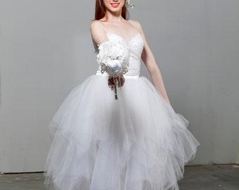 Fairytale Wedding Triangle Layered Long Tutu Skirt Tulle Skirt White Wedding Boho Wedding Prom Bridesmaid Skirt Wedding Separates Adult Tutu