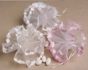 Butterfly Party Favors - Tulle Circles with Satin Butterfly Edging in Pink, White