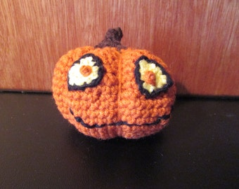 Jack O'Lantern Crazy Eyes Pumpkin Hand Crocheted by MommaSiedt