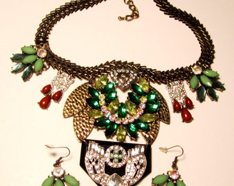 Vintage Necklace Aurora Borealis Multi Colored Clear and Opaque Rhinestones & Earrings (#133)