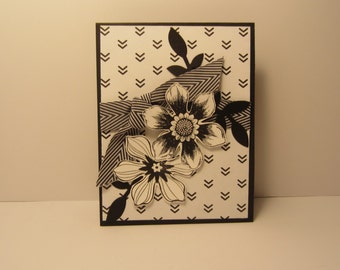 Black and White Flower Wedding / Anniversary Card