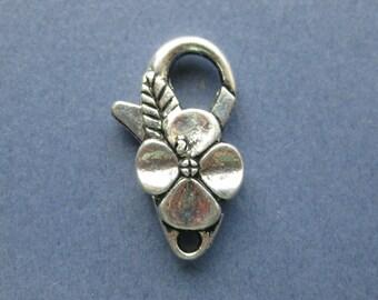 5 Flower Lobster Clasps - Antique Silver Lobster Clasps - Flower Clasp - Lobster Clasp - 25mm x 14mm  -- (No.104-10656)