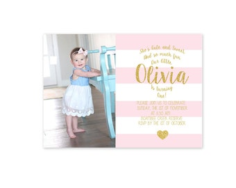 Custom Gold and Pink Glitter 1st Birthday Invitation