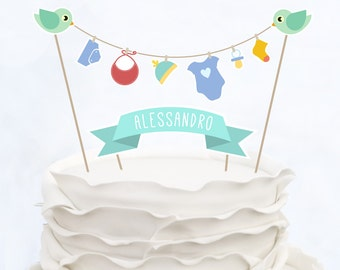 CAKE TOPPER BABY_customized_Baby Shower_Cake topper baptism_Cake topper birthday_Cake topper birds_It's a Boy_It's a girl