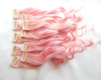PEARL PINK 100% Human Hair Extensions DOUBLE Wefted : Clip In Hair Extensions, Remy Hair Extensions, Ombre Hair, Pink Hair Extensions