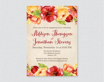Fall Engagement Party Invitation Printable or Printed - Rustic Autumn Engagement Party Invitations, Fall Floral Engagement Party Invite 0018
