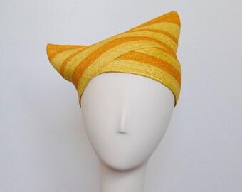 Yellow & Orange Straw Snail Hat