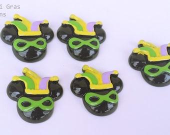 5 PC Mouse Popular Mardi Gras Glasses Hat Brand Inspired Resin Flat backs  247267