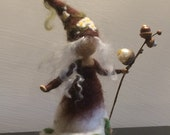 """Needle felted Fairy Waldorf inspired  Forest Fairy """"Hazelnut"""" Art doll Wool Soft sculpture Home decor Brown Doll miniature"""